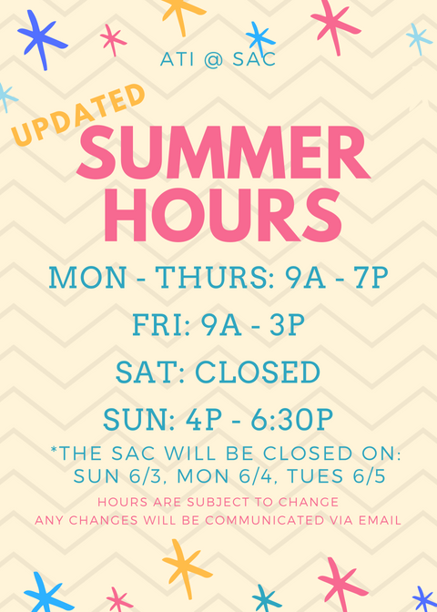 SAC Summer Hours '18