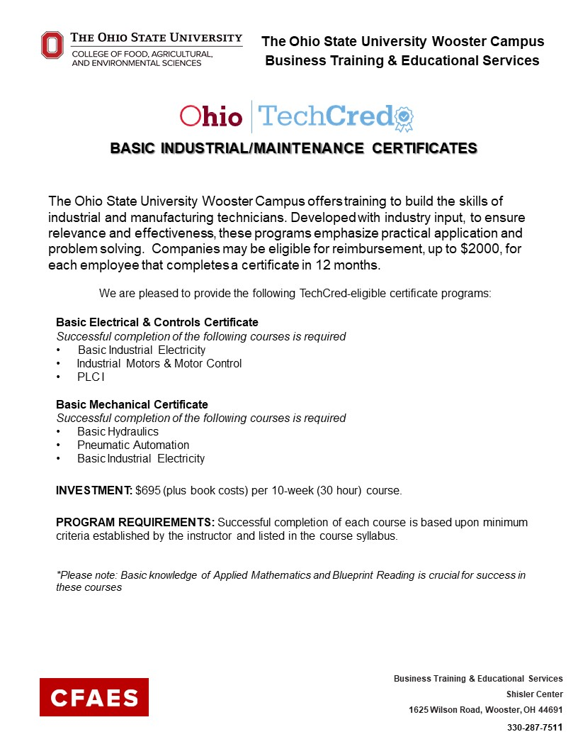 TechCred Info Flyer - For more information contact 330-287-7511
