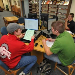 Students working in library