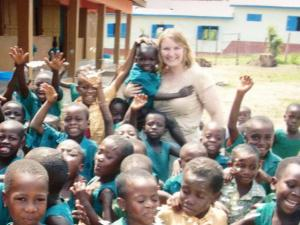 ATI student with Ghanaian children